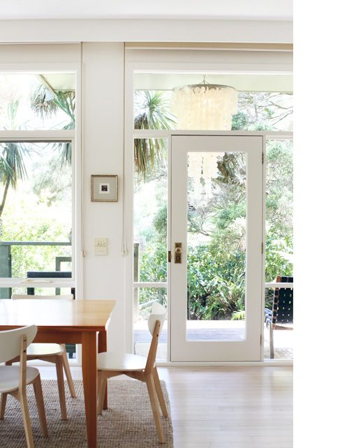 Simple, white and with a snapshot of the indoors and outdoors, perfection, in my mind.