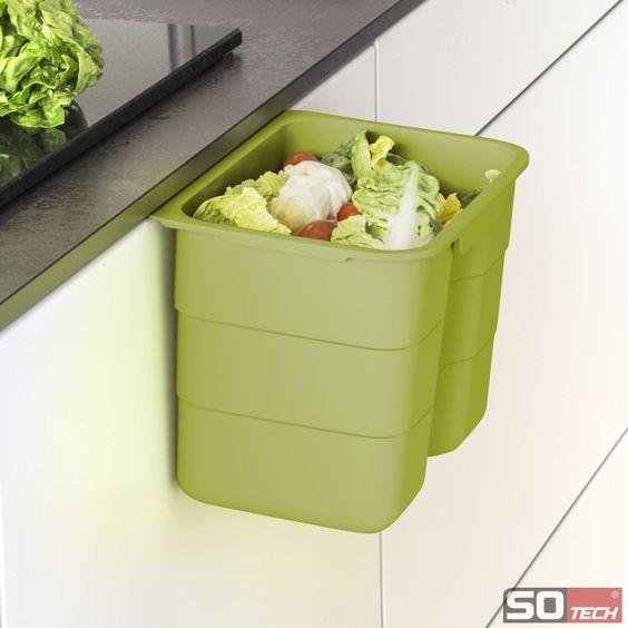 BIKI Bio-Müll Abfallbehälter Grün oder Grau kitchen Pinterest - abfallbehälter für die küche