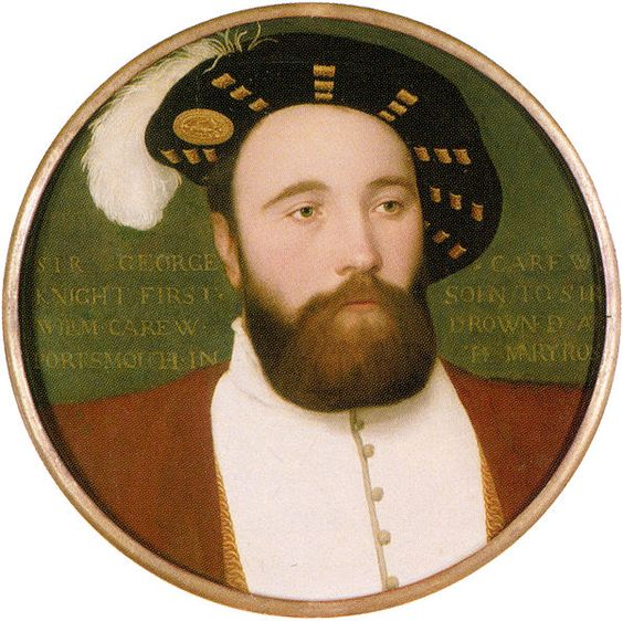"Vice-Admiral George Carew, who perished with the Mary Rose; contemporary miniature by Hans Holbein the Younger.  The bones of a total of 179 individuals were found during the excavations of the Mary Rose, including 92 ""fairly complete skeletons"", more or less complete collections of bones associated with specific individuals.   Analysis of these has shown that crew members were all male, most of them young adults. Some were no more than 11–13 years old, and the majority (81%) under 30."
