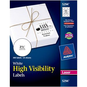 Avery High-Visibility Round Laser Labels 5294, 2-1/2, White, 300pk $12.54 Walmart