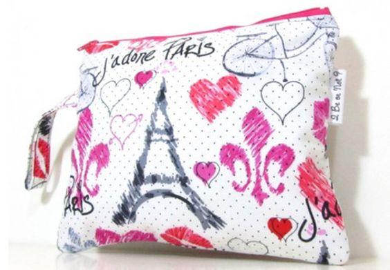 Pochette en tissu coton motif Paris Idéale pour ranger ses petits trésors ! 12 euros