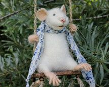 Swinging Mouse, Needle Felted Mouse, White Mouse, Soft Sculpture, Needle Felted Animal, Cute Felt, Eco Toy, Art Doll, Ready  to Ship.