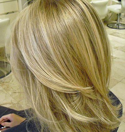 NYC salon blond hair balayage highlights