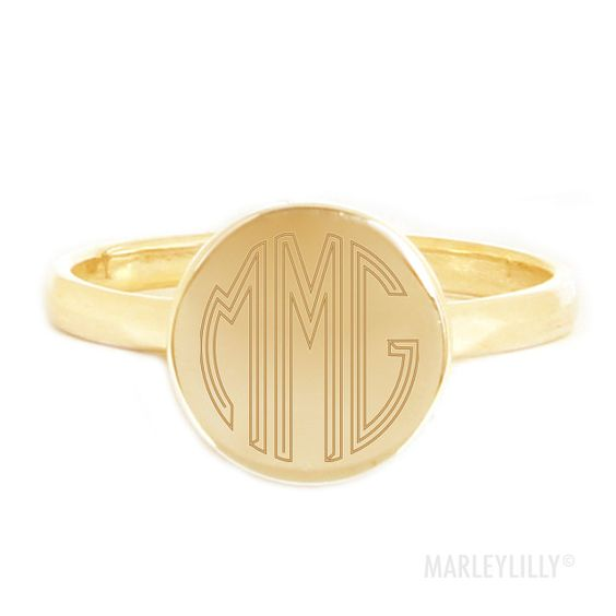 Monogrammed Gold Sterling Silver Audrey Ring