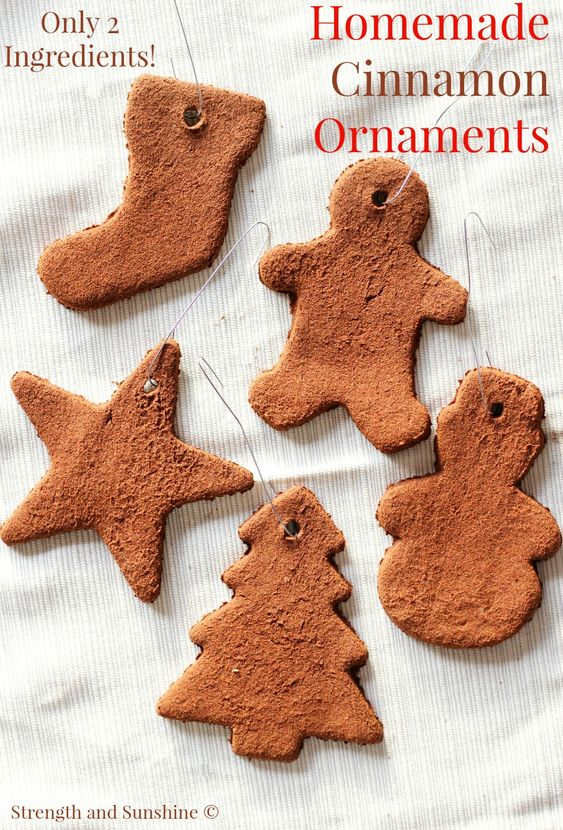 Homemade Cinnamon Ornaments | Strength and Sunshine @RebeccaGF666 All you need is 2 ingredients to make these super simple and easy Homemade Cinnamon Ornaments! A great DIY holiday craft or fun Christmas gift for both kids and adults to make and customize!