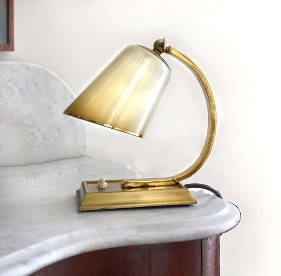 Small Midcentury Lamp Ombre Cream and Brown Glass by kaftansarafan, via Etsy.