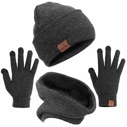 Winter 3 Piece Set Knit Beanie Hat Scarf Touch screen Ski Gloves Warm Men Women