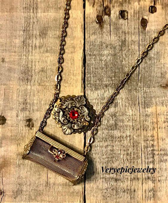 Vintage Repurposed Lipstick Holder Necklace Ornate Necklace Assemblage Necklace Red Crystal