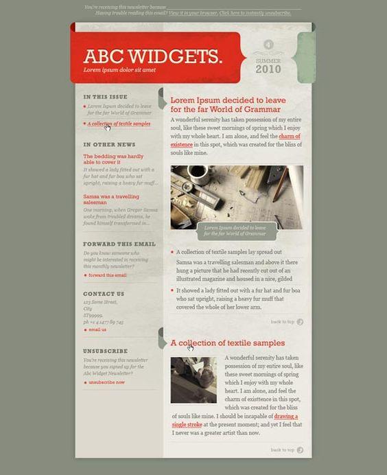 Newsletter template design inspiration pinterest for Newsletter design inspiration