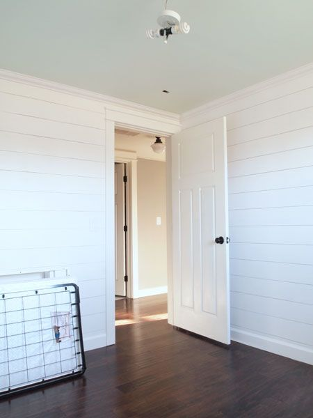 DIY Horizontal Wood Plank Walls | Cape27Blog.com SW-Snowbound on all the walls and trim (a bright, but not stark, white) and SW-Lighter Mint on the ceiling (a pale mint with a touch of blue).: