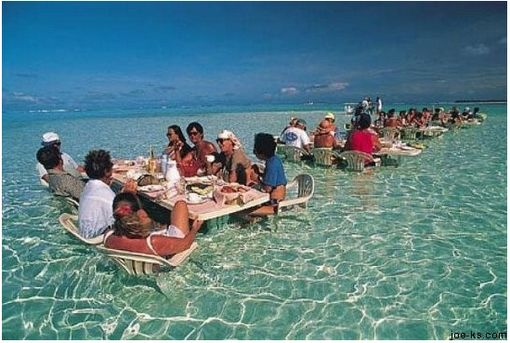 Water dining in Bora Bora.