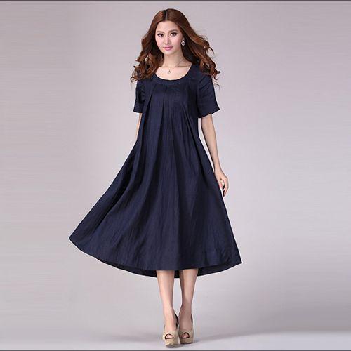 2016 printemps et en t des femmes coton et lin robe. Black Bedroom Furniture Sets. Home Design Ideas