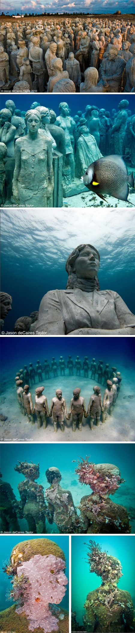 "jason de caires taylor's underwater sculpture garden in cancun. ""constructed out of concrete and steel, and bolted to the ocean substrate, the works here act as artificial reefs that provide ""an ideal habitat for filter feeding organisms.""""   www.dedeceblog.co..."