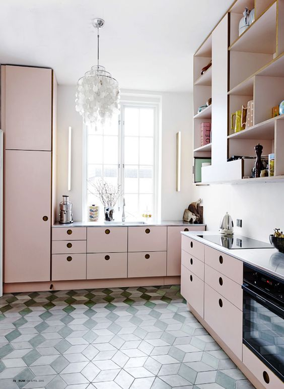 daring floor tiles + cute pink cabinets!