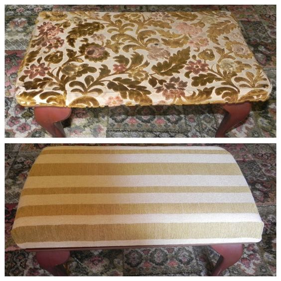 Old footstool reupholstered and refoamed