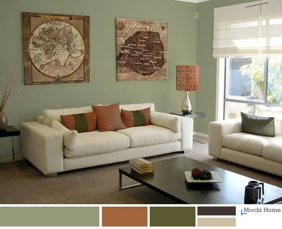 Warm sage green living room with rusty orange see website Light green paint living room