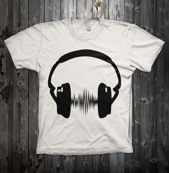 "White Men T-Shirt 100% organic  ""Song Waves"" - man shirt - man t shirt - men shirts - men t shirts - organic man t shirt - music t shirt -"