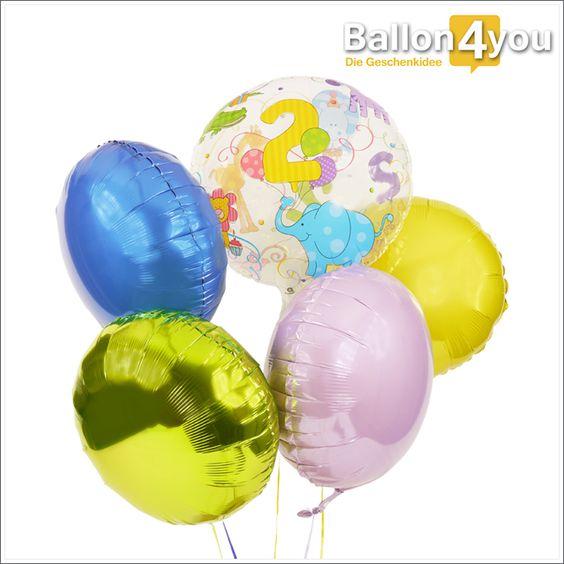 Bubble Ballon Bukett zum 2. Geburtstag  Zwei Jahre sind nun schon vergangen. Solange weilt ein kleines Kind schon unter Ihnen. Sei es Ihr eigenes oder das von Freunden, eine passende Geschenkidee muss her. Wie wäre es mit diesem großen Ballonbuket, bestehend aus 5 Folienballons? Jeder in einer anderen Farbe, einer davon mit tierischem Design und alle bereits heliumgefüllt fertig zum Versand.