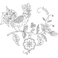 Pattern Detail | Rooster with Jacobean Flowers | Needlecrafter