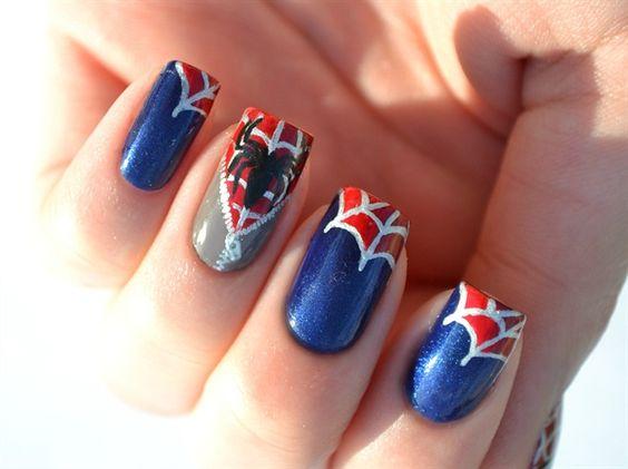 "My Spiderman ""unzipped"" nails."