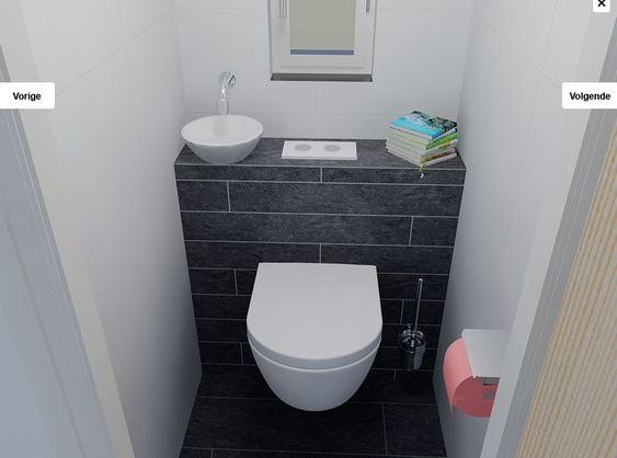 Idee voor kleine wc ruimte wastafel boven toilet idee n voor onze toiletruimte pinterest - Idee deco toilet in grijs ...