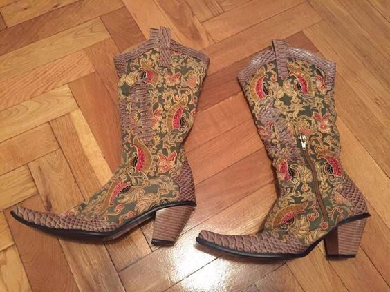 pointed vintage textile colored Cowboy boots beige green golden Women Sz EU38 #Emilia #CowboyWestern