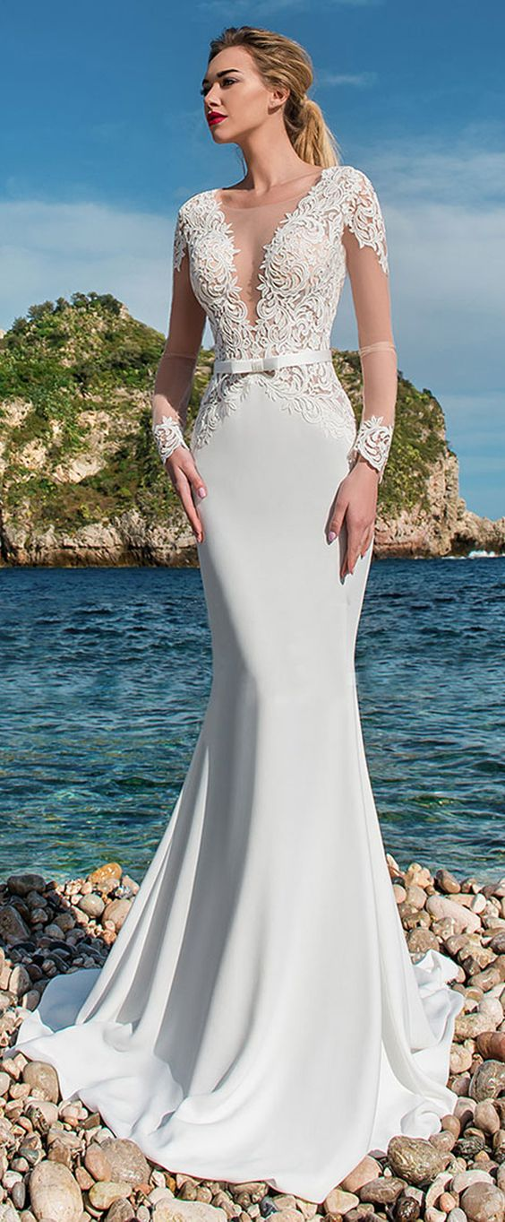 Wedding Dress With Lace Appliques & Belt