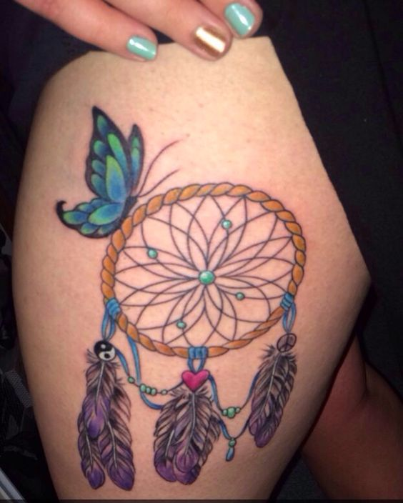my thigh piece dream catcher butterfly tattoo my own inklings pinterest butterfly. Black Bedroom Furniture Sets. Home Design Ideas