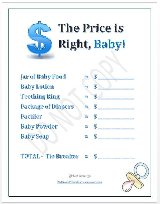 Superior Another Name For A Baby Shower Part - 12: Price Is Right Baby Shower Game Boy