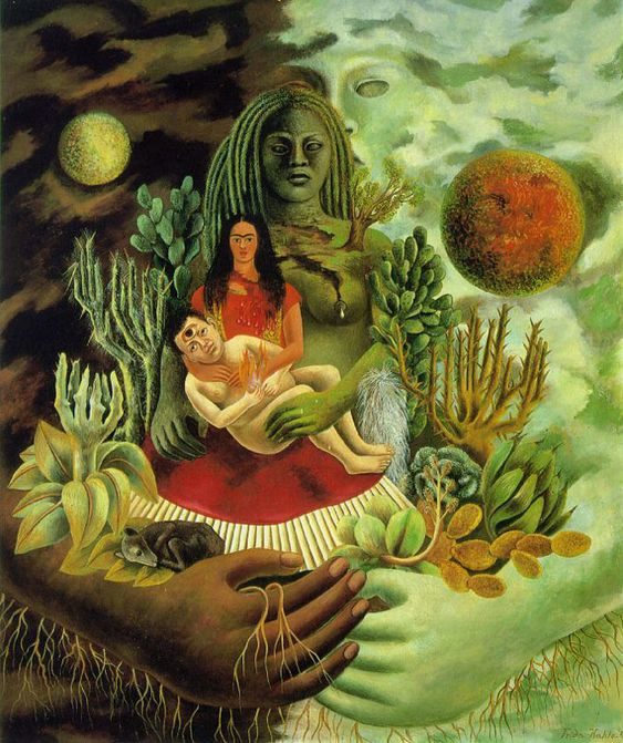 1949 Frida Kahlo - The Love Embrace of the Universe. The Earth (Mexico), Diego, Me (Frida) and Senor Xolotl. My all time favorite Frida piece