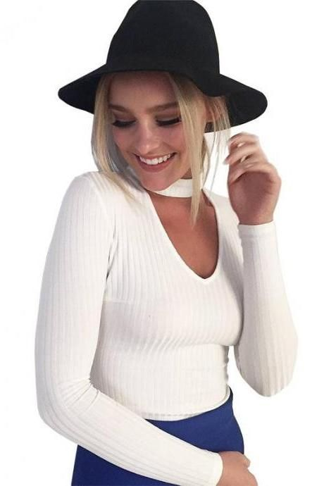 Knitted Slim Fit Choker Sweater with Plunging Neckline: