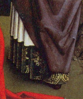 12_3.jpg (280×334) Border of brocade attached to petticoat. Common period practice, it appears you have a lot fancier clothing than you can really afford and you don't waste expensive fabric where no one can see.