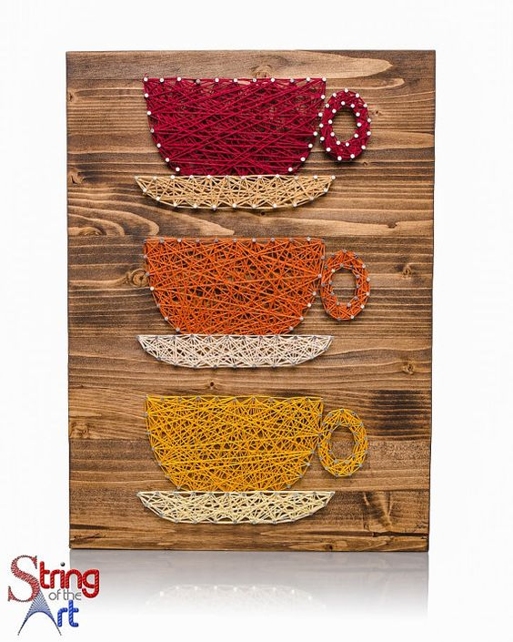 String art diy kit coffee cups string art coffee for Coffee mug craft kit