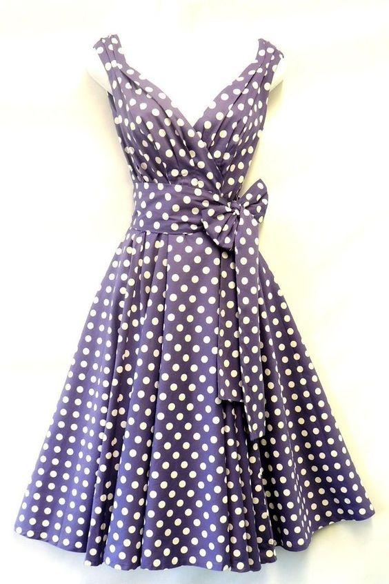 Kleid Damen Vintage 50er Jahre Stil Weich Violett Gepunktet Sommer Swing Punkte in Kleidung & Accessoires, Damenmode, Kleider   eBay