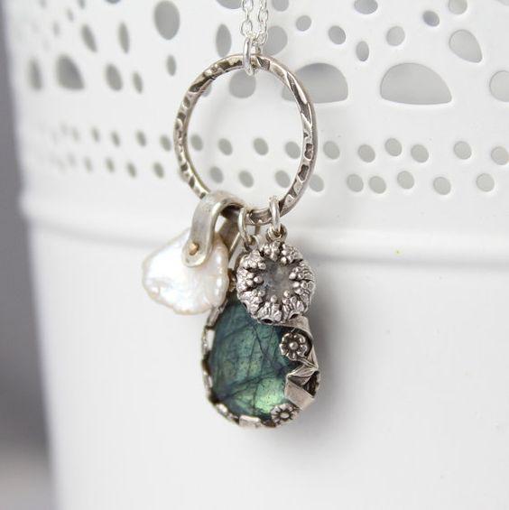 Labradorite Moss Aquamarine and Keshi Pearl Rivet by KristinLaing, $138.00