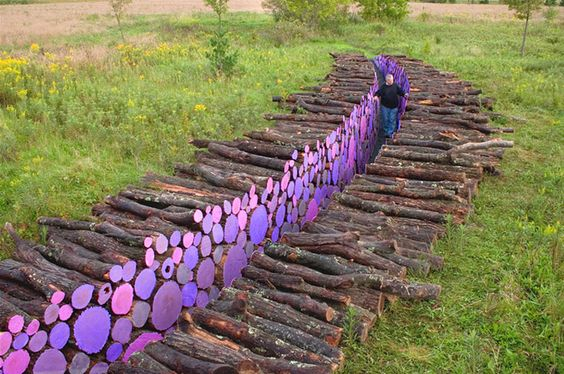 Michael McGillis - Wake, 2006. Madeira e tinta. Franconia Sculpture Park, Shafer, Minnesota.