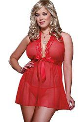 COSWE Women's Halter Sexy Lingerie Babydoll with G-string
