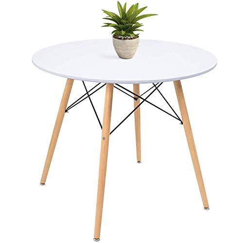 Kaimeng White Round Dining Table Modern Pedestal Small Circle Table Leisure Tea Coffee Kitc In 2020 Modern Oval Dining Table White Round Dining Table Oval Table Dining