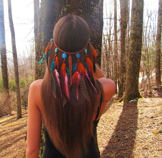 Tiger Lily Headdress feather headband feather headdress orange and blue turquoise native america style indian  costume festival