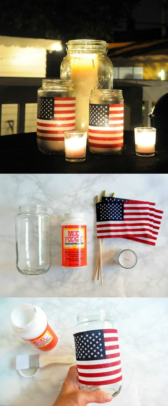 Simple DIY Patriotic Flag lanterns are perfect for 4th of July or Memorial Day decorations! Great party idea.