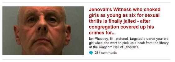Testimone di Geova condannato per aggressioni a sfondo sessuale su ragazzine e bambini. La sua congregazione religiosa coprì per anni gli abusi