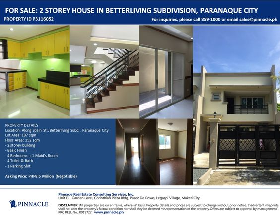 Lovely 2 STOREY HOUSE IN BETTERLIVING SUBDIVISION PARANAQUE CITY More Properties  On Http://pinnacle