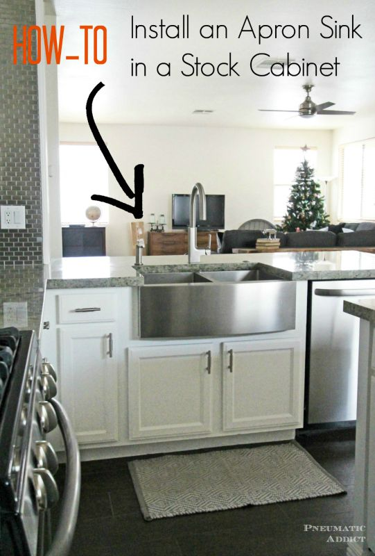 Learn how to modify a cabinet to accomidate an apron front sink ...