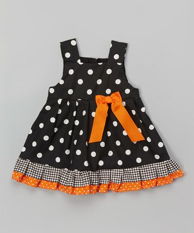 Another great find on #zulily! Black & White Dot Ruffle Dress - Infant & Toddler #zulilyfinds