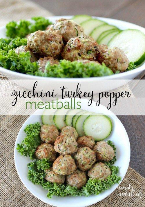 Zucchini Turkey Popper Meatballs -- a freezer-friendly recipe and an easy way to sneak in veggies. Substitute sea salt for noniodized salt. http://www.simplynourishedmealplans.com/zucchini-turkey-meatballs-recipes/