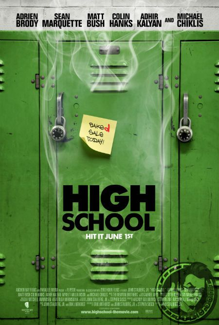 Get baked with Adrien Brody, Colin Hanks and Michael Chiklis in our exclusive poster for the stoner comedy HIGH SCHOOL.