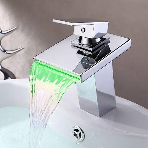 Wovier W 8246 C Led Waterfall Bathroom Sink Faucet Chrome