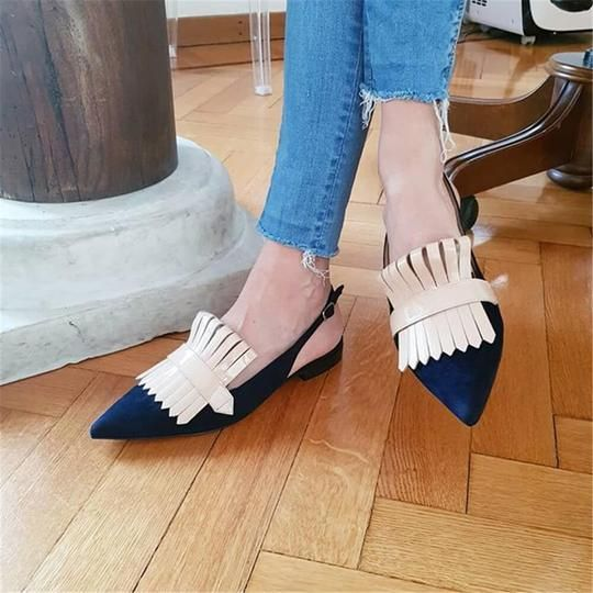 Summer Ladies Daily Club Metal Tassels Sandals Fashion Pointed Toe Flats Party Shoes Women
