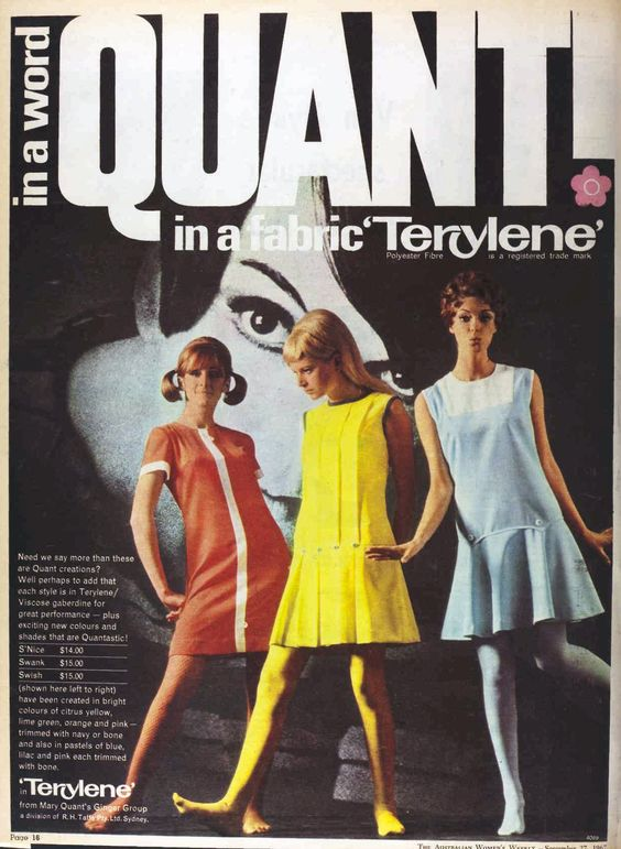 The new silhouette: Amber???  Mary Quant vintage Sixties dresses in Terylene, 1967  1960s Fashion