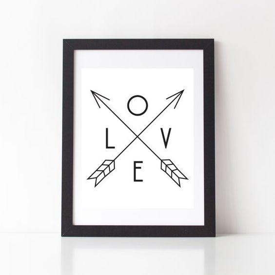 Love Arrow Print  Tribal Art  Black and White  by StarbriteStudio